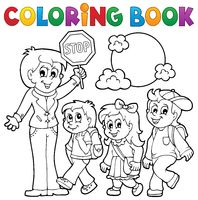 Coloring book school kids theme 1 - picture illustration.