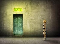 girl door room exit sign