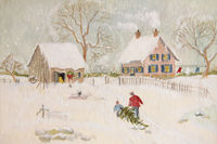 Winter scene of a farm with people, digitally alte