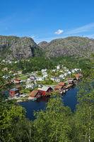 village of Ana-Sira at the Sira River,Norway