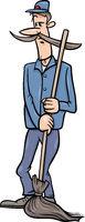 janitor man with broom cartoon illustration