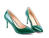 Beautiful green classic women shoes isolated on white background