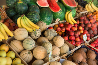 Fesh organic fruits and vegetables on market stall