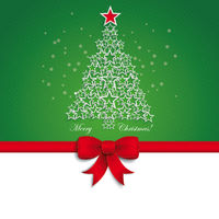 Green Christmas Tree Star Ribbon Green Background