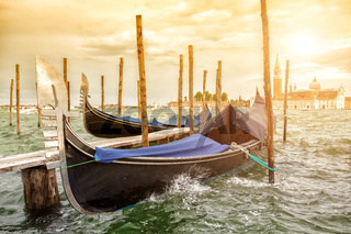 Gondolas on sunset, Grand Canal in Venice