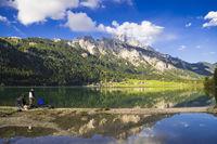 Angler at lake Haldensee, Austria