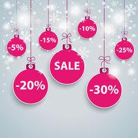 Snow Background Purple Baubles Sale