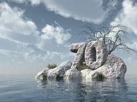 nummer siebzig aus stein im wasser  - 3d illustration