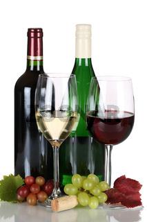 Wein in Weinflaschen isoliert