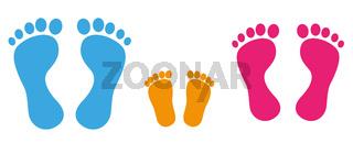 Footprint Man Woman Child