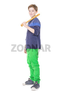 happy teenage boy holding a flute on his shoulder, isolated on white
