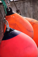 Red and orange buoys