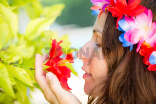 Woman relax on tropical resort
