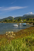 Boats on the lake Lac de Joux, Vaud, Switzerland