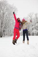 winter girl jump on snow background