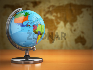 Globe  with a political map on vintage background.
