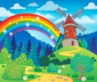 Spring theme with windmill - picture illustration.