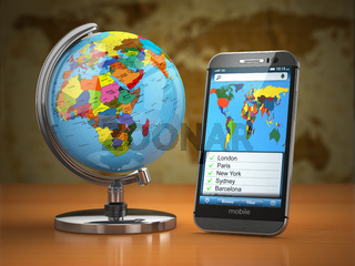 Travel and tourism concept. Mobile phone and globe.