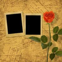 Vintage aged background, with old Postcard, envelopes, frames and rose