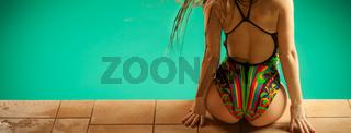 Sensual woman buttocks in swimsuit