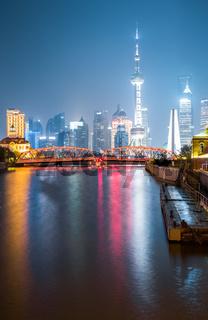 garden bridge and shanghai skyline at night