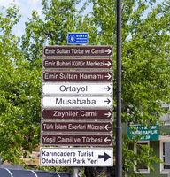 Touristic Directional Signs In Bursa, Turkey