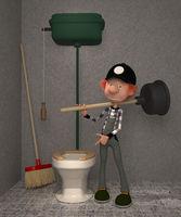 3D boy in a toilet.