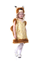 Lovely little girl posing in squirrel suit