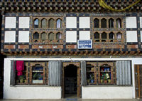 boutiques in typical Bhutanese building, Bhutan