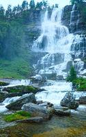 Summer Tvindefossen waterfalls (Norway)