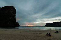 people at sunset on Railay beach in Krabi Thailand vacation