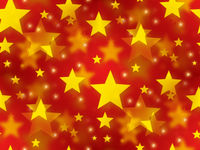 Golden christmas stars on a seamless red background.