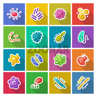 Germs and Bacteria Flat Icons Set