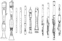 various forms of ancient woodwind instruments, flageolet, beak flute, German flute, double flute, recorder