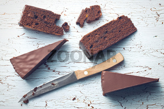 pieces of sacher cake