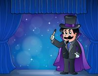 Magician on wide stage - picture illustration.