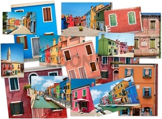 A collage of photos from the island of Burano