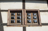 Windows in an half-timbered house in Mechernich-Ko