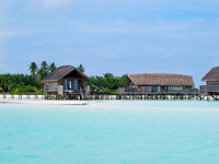 Over water bungalows at maldives