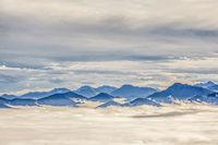 Isarwinkel and autumn fog