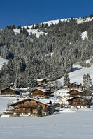 Swiss chalets in winter, Switzerland