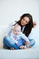 Sitting Pretty Mom with her Cute Baby Boy