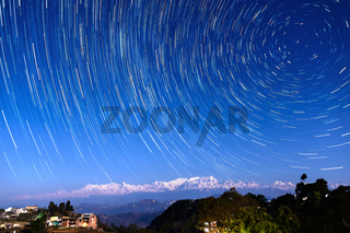 Star trails over Bandipur, Nepal