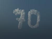 wolken bilden die zahl siebzig- 70 - 3d illustration