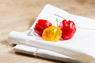 Habanero peppers on napkin horizontal