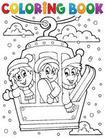 Coloring book cable car theme - picture illustration.