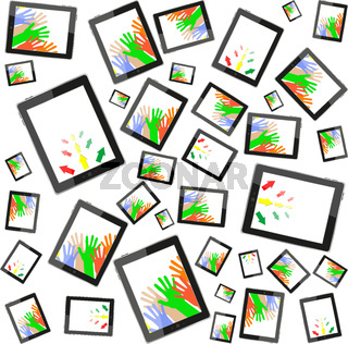 hands and business arrow on tablet touch computer set on white background