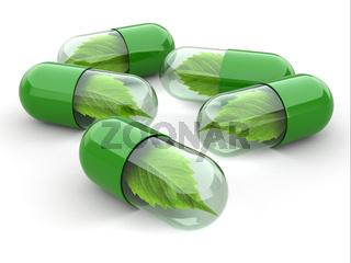 Natural vitamin pills. Alternative medicine.