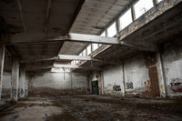 Industrial building interior in dark colors