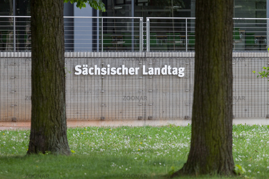 Sign Sächsischer Landtag between trees